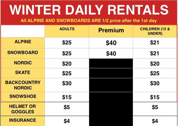 Winter rental rates 2018
